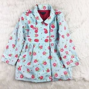 Pumpkin Patch Floral Print Trench Jacket